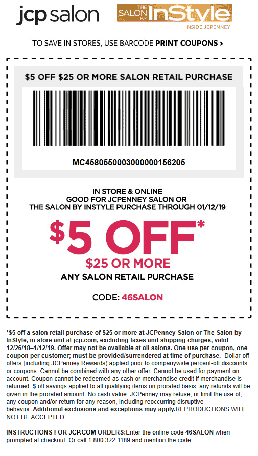 JCPenney Coupon October 2019 $5 off $25 at JCPenney salon, or online via promo code 46SALON