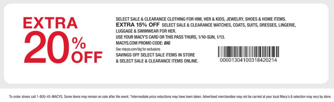 Macys.com Promo Coupon Extra 20% off at Macys, or online via promo code BIG