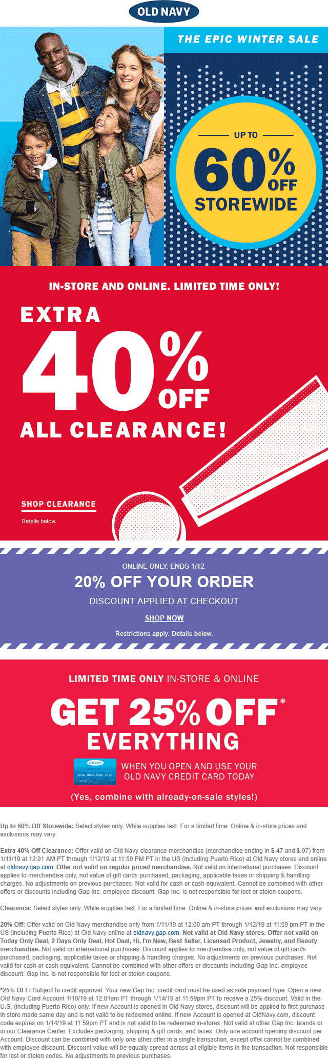 OldNavy.com Promo Coupon Extra 40% off clearance & more at Old Navy, ditto online