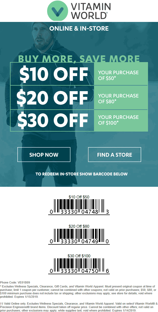 Vitamin World Coupon May 2019 $10-$30 off $50+ at Vitamin World, or online via promo code VE01B09