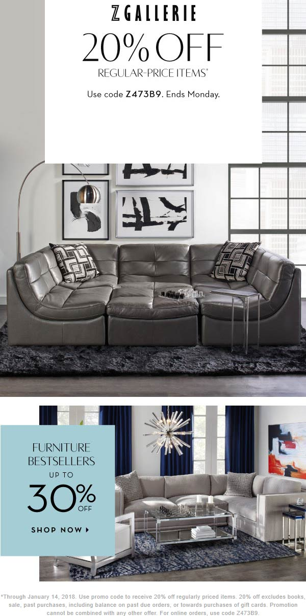 Z Gallerie Coupon January 2020 20% off at Z Gallerie, or online via promo code Z473B9