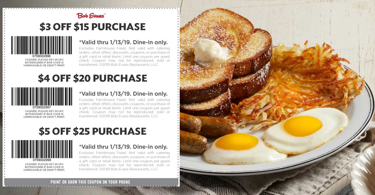Bob Evans Coupon August 2019 $3-$5 off $15+ at Bob Evans restaurants