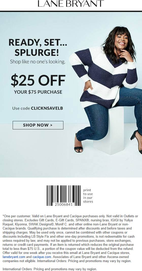 Lane Bryant Coupon January 2020 $25 off $75 at Lane Bryant, or online via promo code CLICKNSAVELB