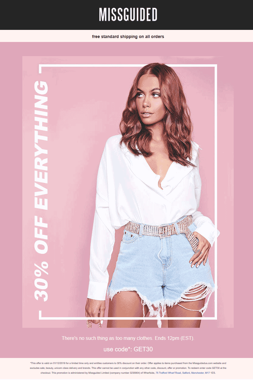 Missguided Coupon January 2020 30% off everything online til 12p today at Missguided via promo code GET30