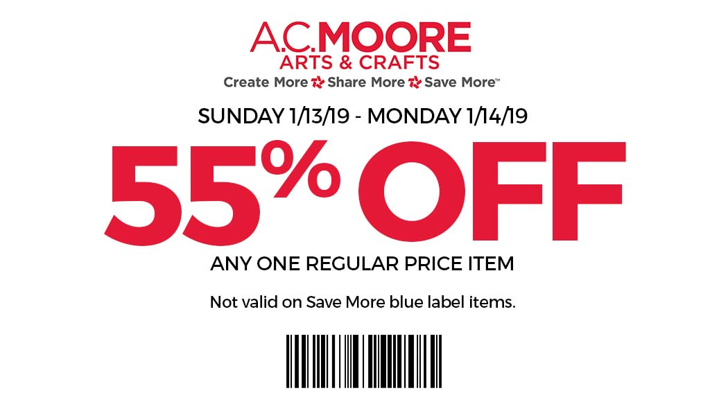A.C. Moore Coupon January 2020 55% off a single item at A.C. Moore