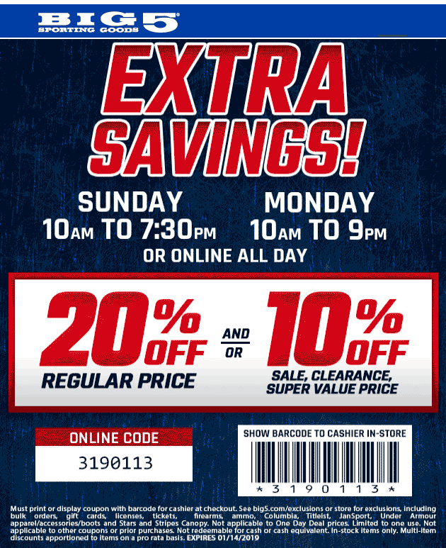 Big 5 Coupon April 2019 20% off at Big 5 sporting goods, or online via promo code 3190113