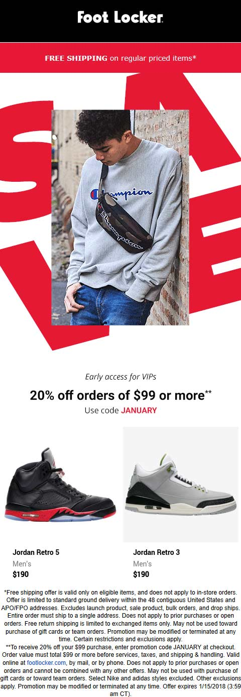 Foot Locker Coupon January 2020 20% off $99 online at Foot Locker via promo code JANUARY