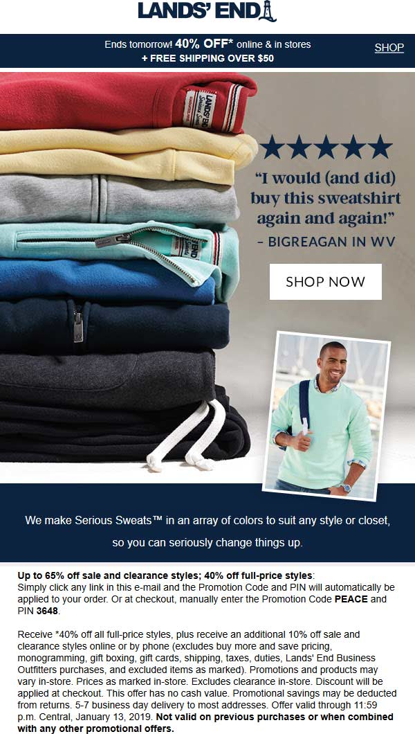 Lands End Coupon November 2019 40% off today at Lands End, or online via promo code PEACE and pin 3648