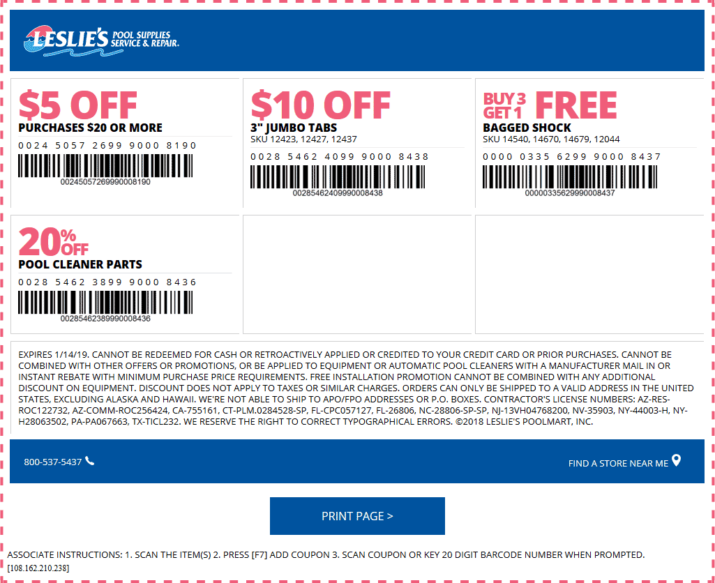 Leslies Pool Supplies Coupon August 2019 $5 off $20 & more at Leslies pool supplies