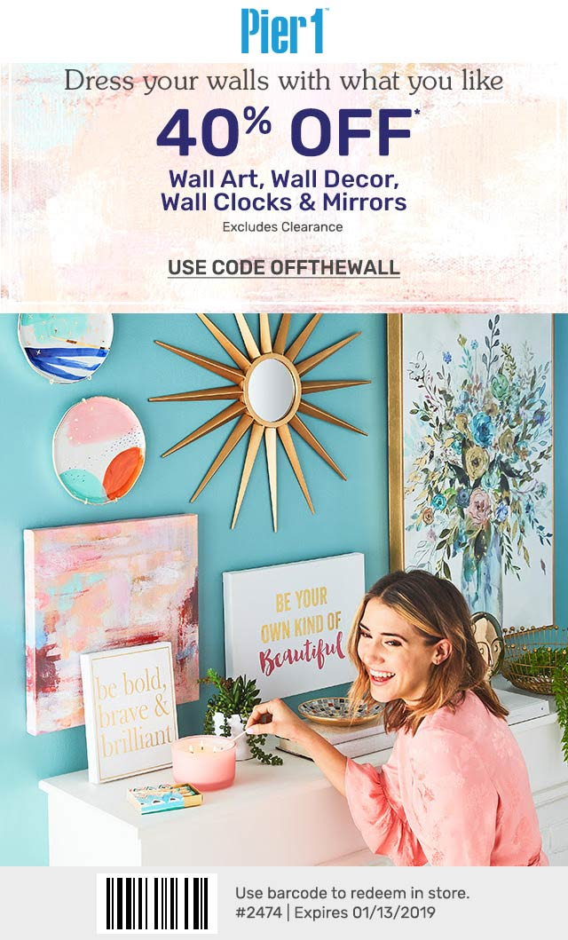 Pier1.com Promo Coupon 40% off wall decor today at Pier 1 imports, or online via promo code OFFTHEWALL