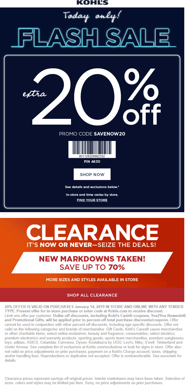 Kohls Coupon July 2019 20% off today at Kohls, or online via promo code SAVENOW20