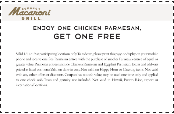 Macaroni Grill Coupon June 2019 Second chicken parmesan free today at Macaroni Grill restaurants