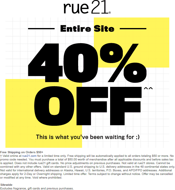Rue21.com Promo Coupon 40% off everything online today at rue21, no code needed