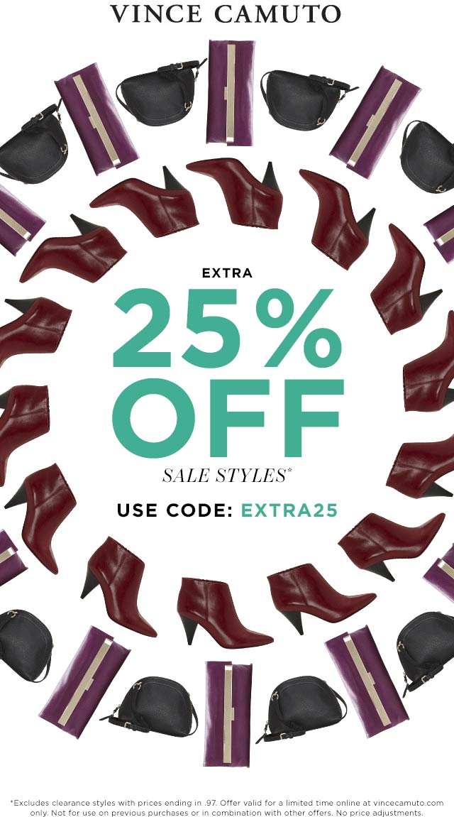 Vince Camuto Coupon September 2019 Extra 25% off sale items online at Vince Camuto via promo code EXTRA25