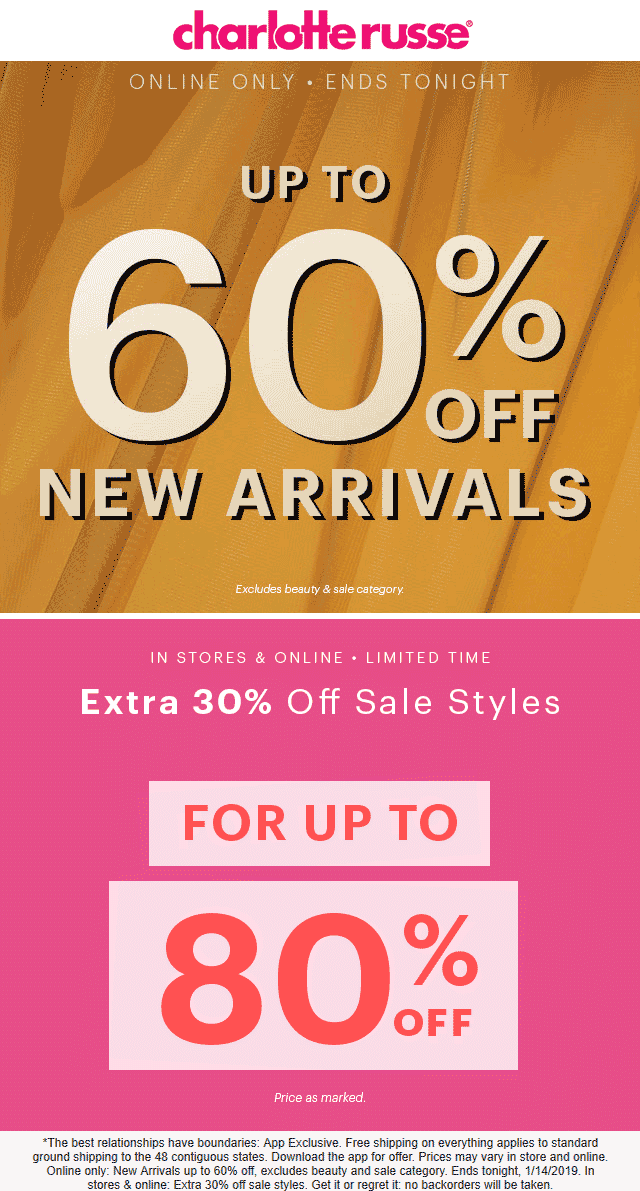 Charlotte Russe Coupon April 2019 Extra 30% off sale items at Charlotte Russe, ditto online