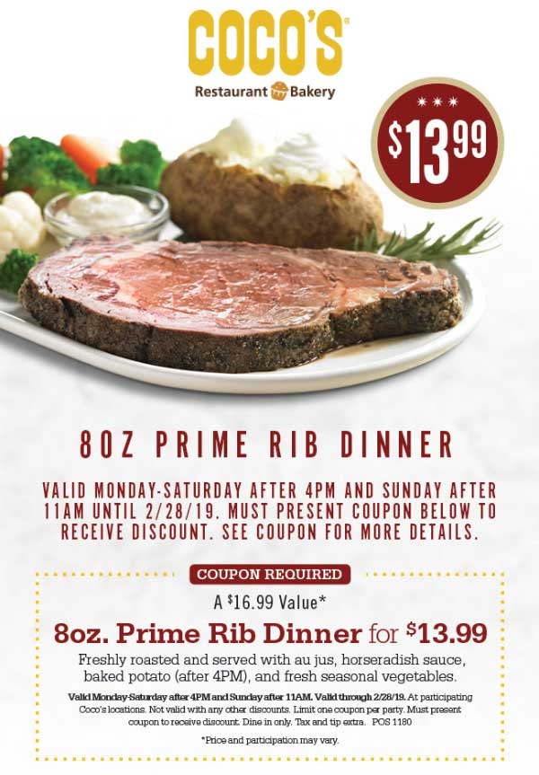 Cocos Coupon June 2019 $14 prime rib dinner at Cocos restaurant bakery