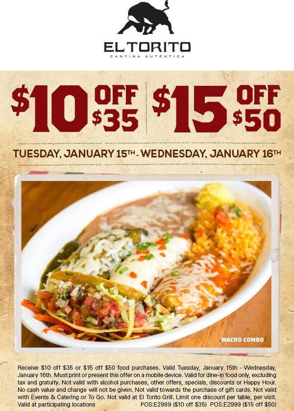El Torito Coupon October 2019 $10 off $35 & more at El Torito restaurants