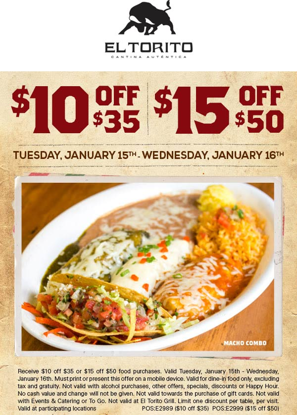 El Torito Coupon May 2019 $10 off $35 & more at El Torito restaurants