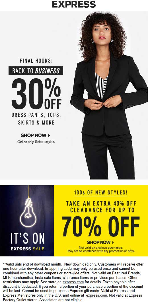 Express.com Promo Coupon Extra 40% off clearance today at Express, ditto online