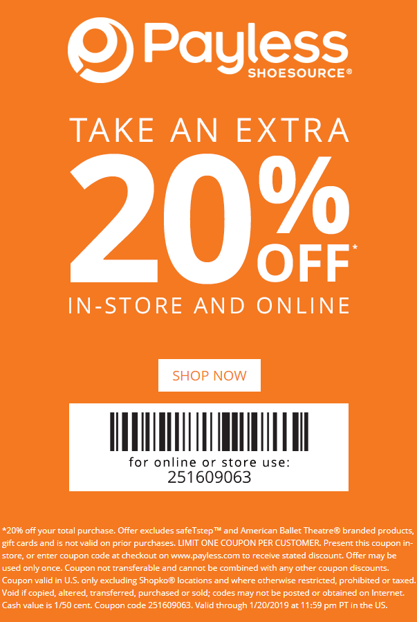 Payless Shoesource Coupon November 2019 20% off at Payless Shoesource, or online via promo code 251609063