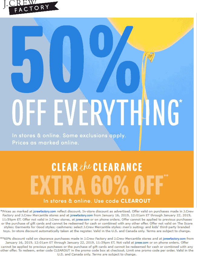 J.Crew Factory Coupon May 2019 50% off everything at J.Crew Factory, or online via promo code CLEAROUT