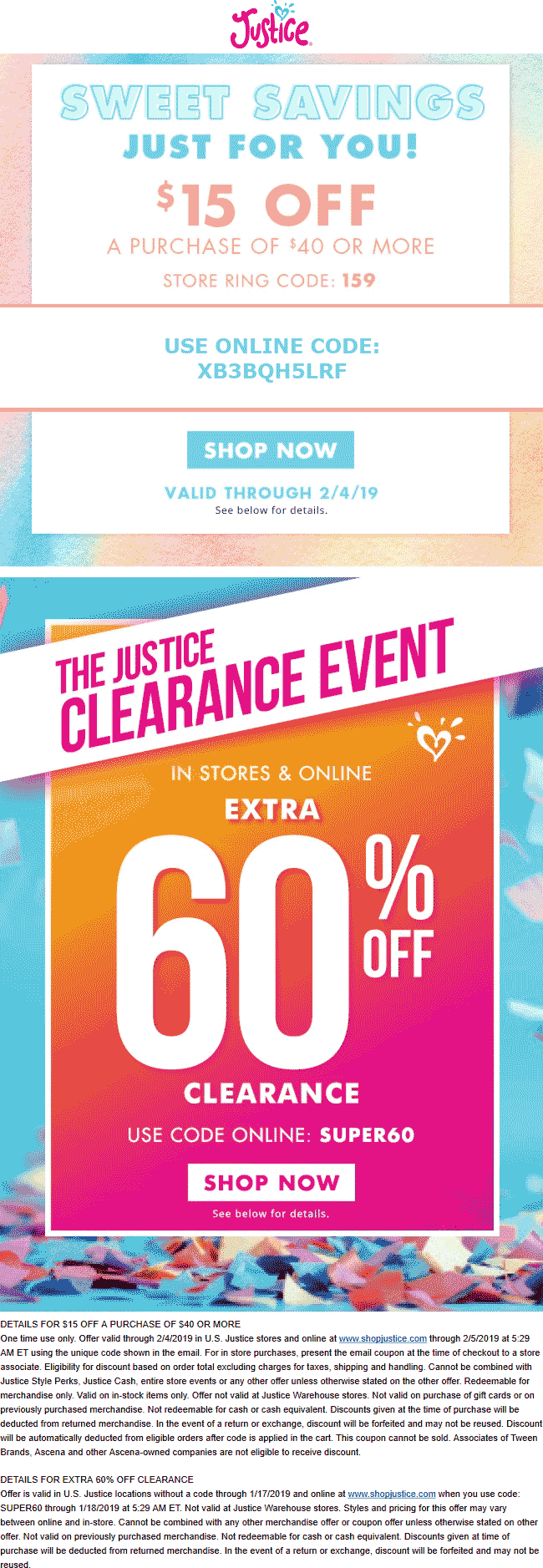 Justice.com Promo Coupon $15 off $40 at Justice, or online via promo code XB3BQH5LRF