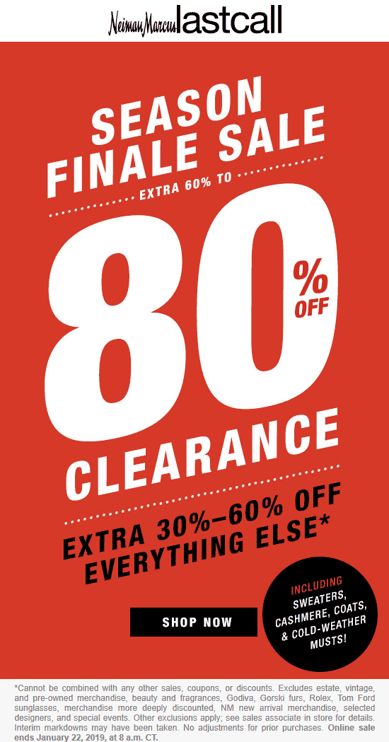 Last Call Coupon July 2019 30-60% off everything at Neiman Marcus Last Call, ditto online