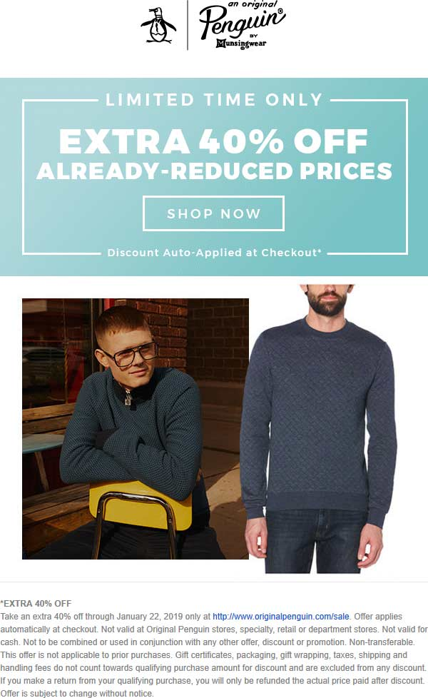 Original Penguin Coupon August 2019 Extra 40% off sale items online at Original Penguin, no code needed