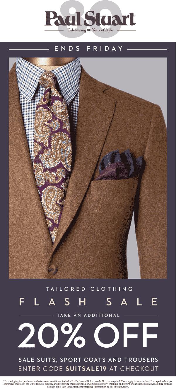 Paul Stuart Coupon May 2019 20% off sale suits at Paul Stuart, or online via promo code SUITSALE19