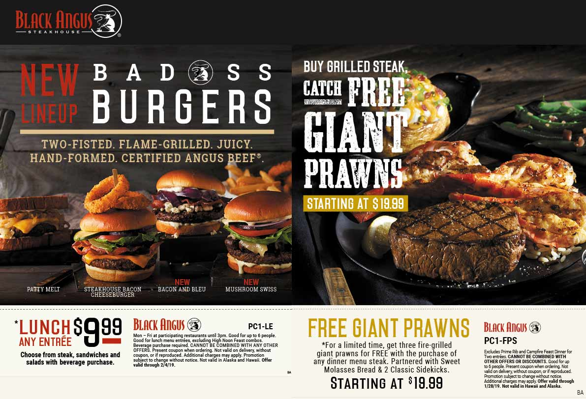Black Angus Coupon October 2019 Free giant prawns with your steak at Black Angus restaurants