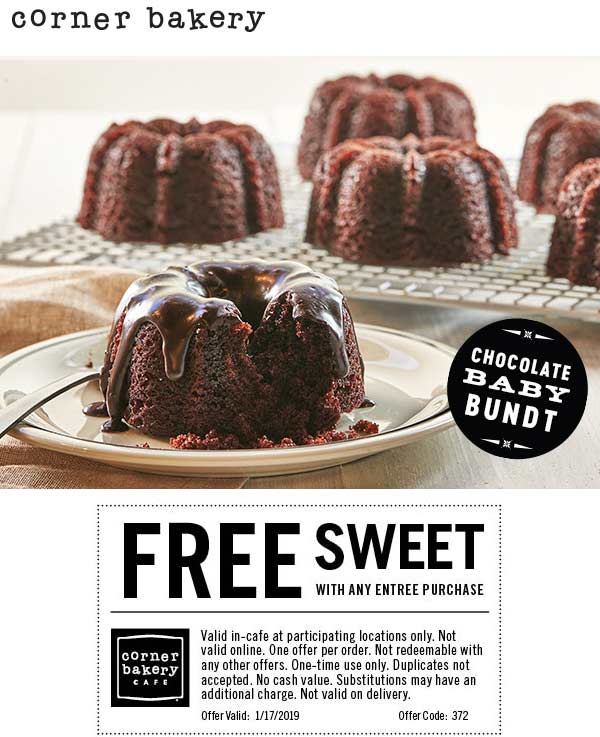 Corner Bakery Coupon November 2019 Free sweet with your entree today at Corner Bakery Cafe
