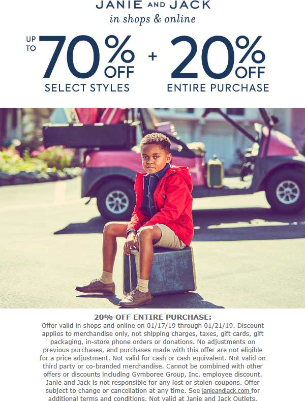 Janie and Jack Coupon September 2019 20% off everything at Janie and Jack, ditto online