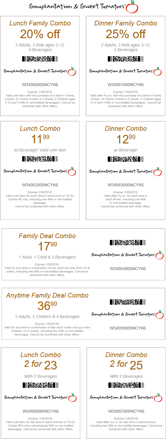 Sweet Tomatoes Coupon July 2019 25% off & more at Souplantaion & Sweet Tomatoes restaurants