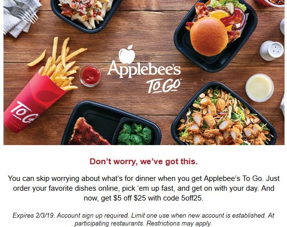 Applebees Coupon November 2019 $5 off $25 on takeout at Applebees restaurants via promo code 5off25
