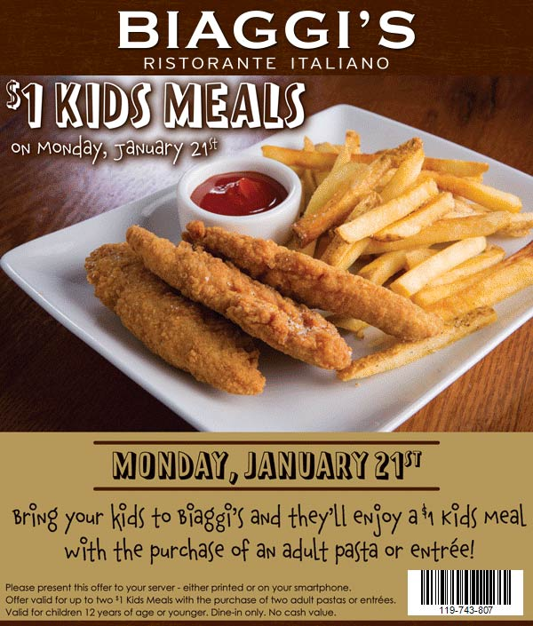 Biaggis Coupon January 2020 $1 kids meals Monday at Biaggis restaurants