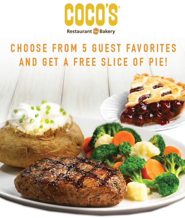 Cocos Coupon May 2019 Free pie with your entree at Cocos restaurants