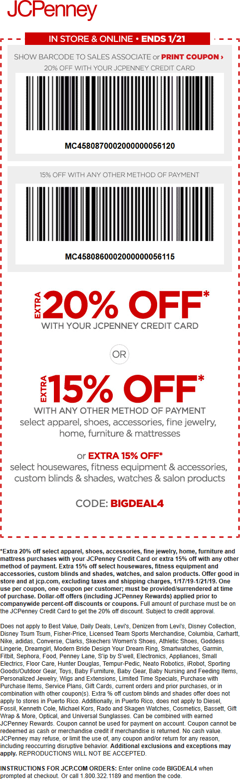 JCPenney Coupon May 2019 15% off at JCPenney, or online via promo code BIGDEAL4