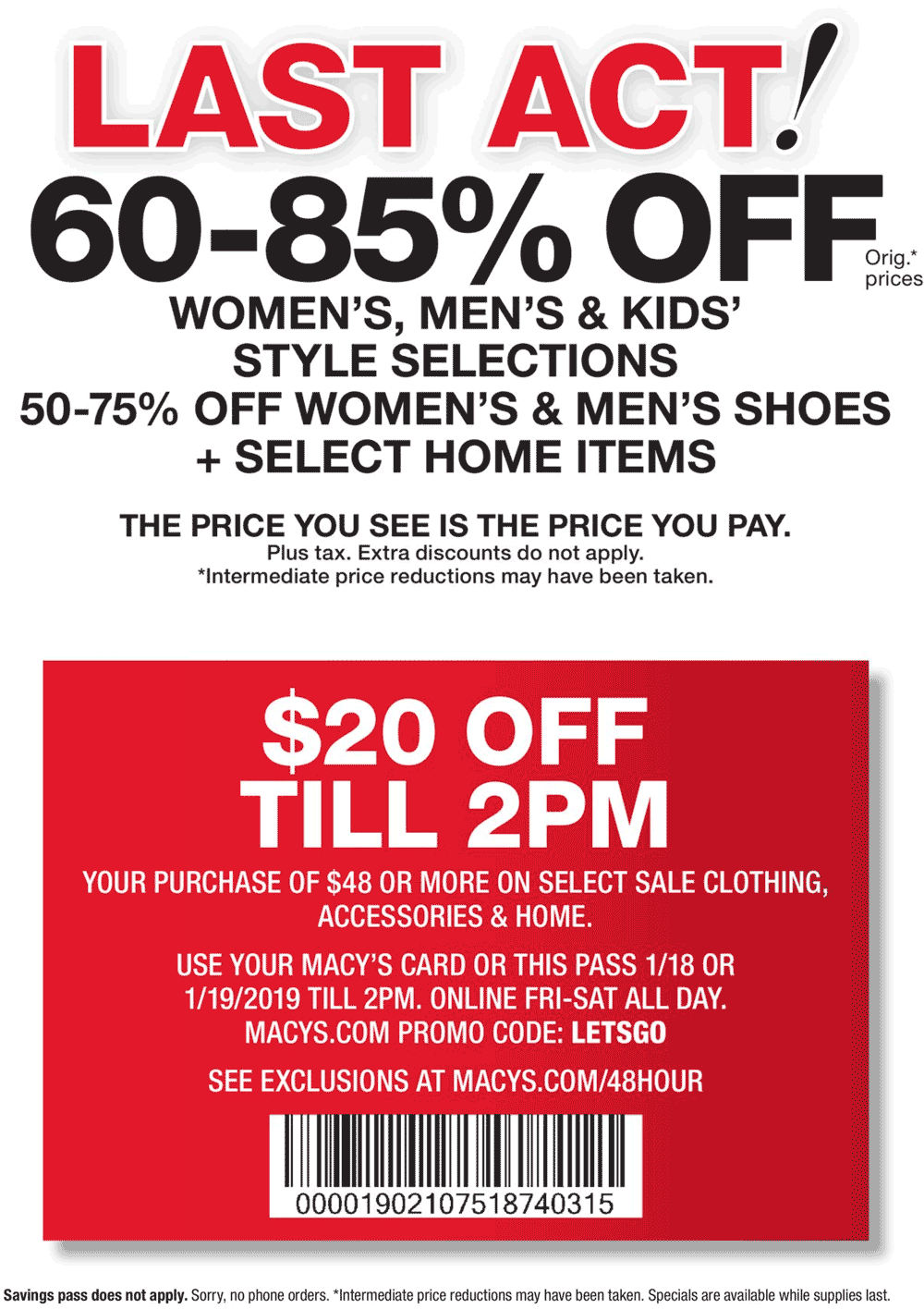 Macys Coupon October 2019 $20 off $48 at Macys, or online via promo code LETSGO