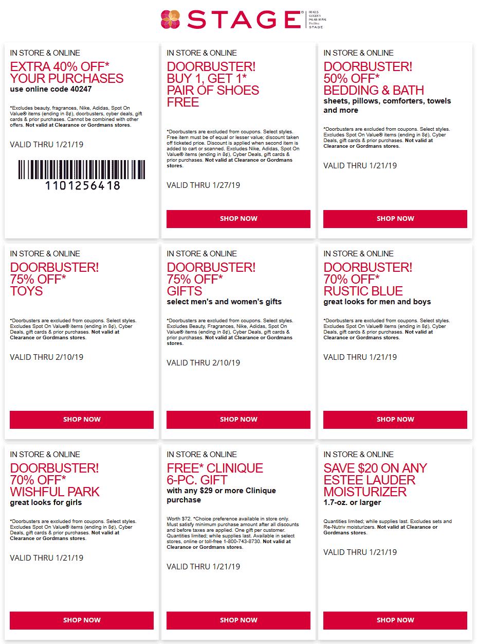 Stage Coupon August 2019 40% off at Stage stores, or online via promo code 40247