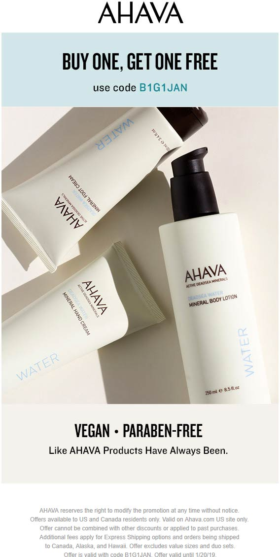AHAVA Coupon October 2019 Second item free today online at at AHAVA via promo code B1G1JAN