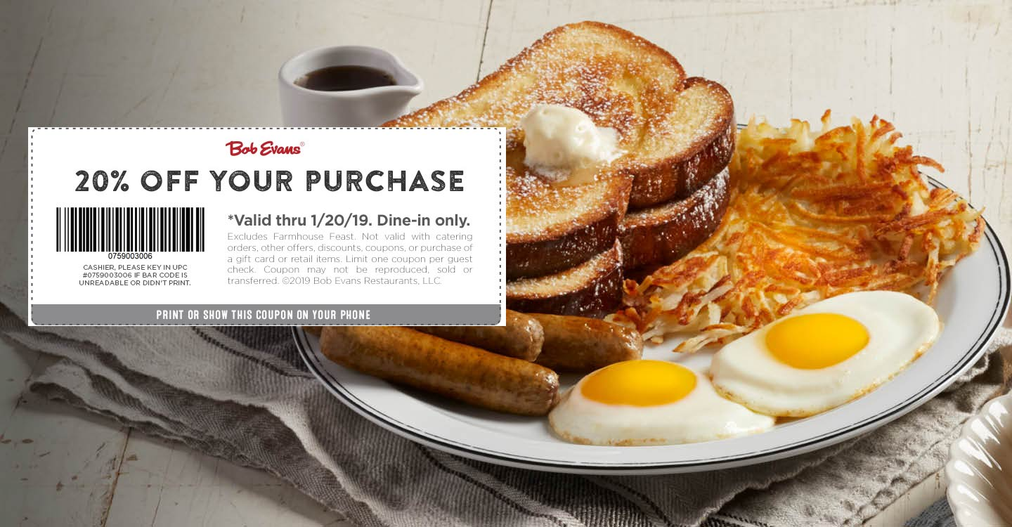 Bob Evans Coupon October 2019 20% off at Bob Evans restaurants