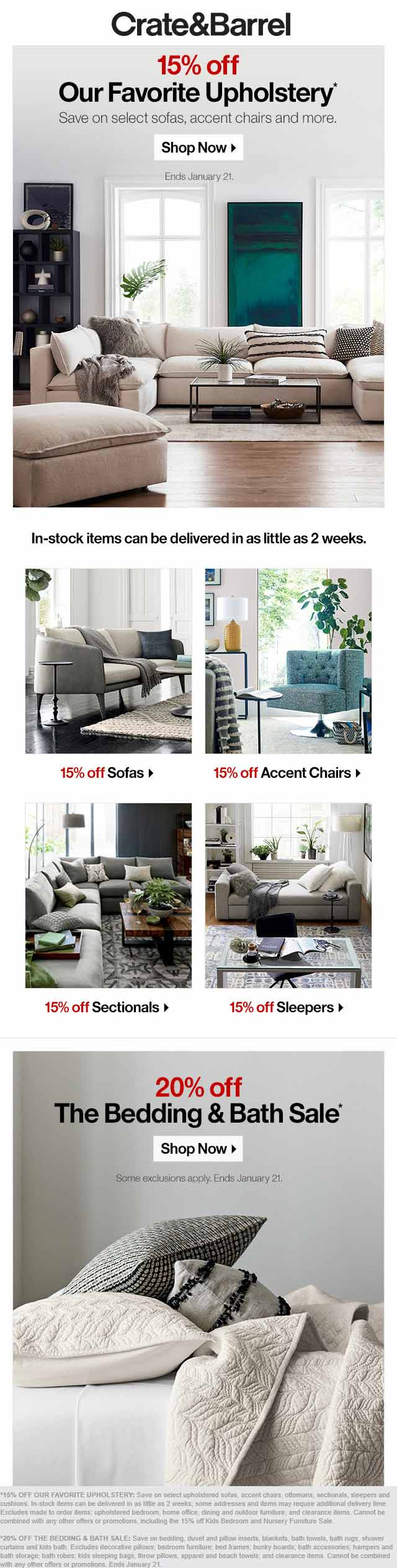 Crate & Barrel Coupon May 2019 15-20% off upholstery & linens at Crate & Barrel, ditto online