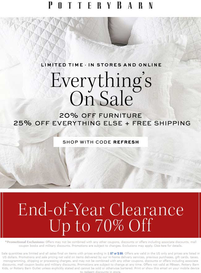 Pottery Barn Coupon November 2019 25% off at Pottery Barn, or online via promo code REFRESH