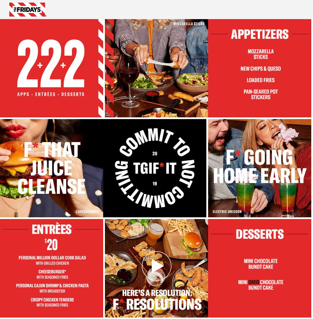 TGI Fridays Coupon August 2019 2 appetizers + 2 entrees + 2 desserts = $20 at TGI Fridays restaurants