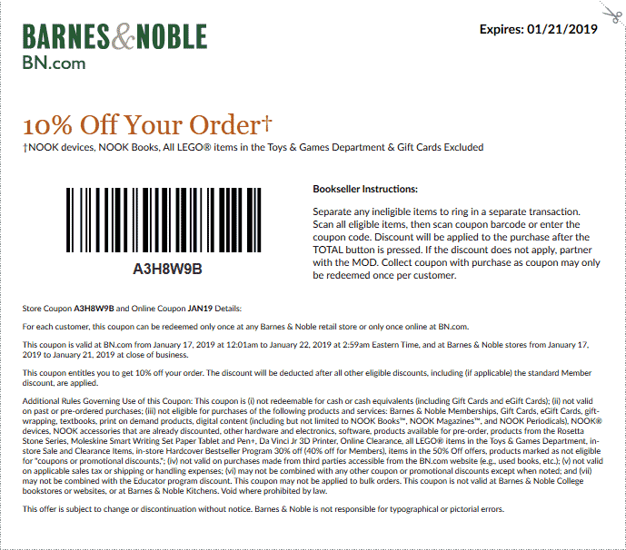 Barnes & Noble Coupon August 2019 10% off at Barnes & Noble, or online via promo code JAN19