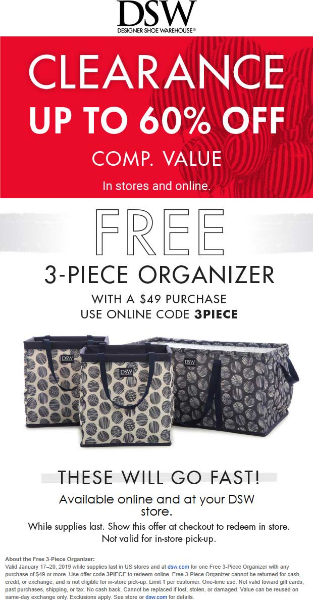 DSW Coupon September 2019 3pc organizer set free with $49 spent today at DSW shoes, or online via promo code 3PIECE