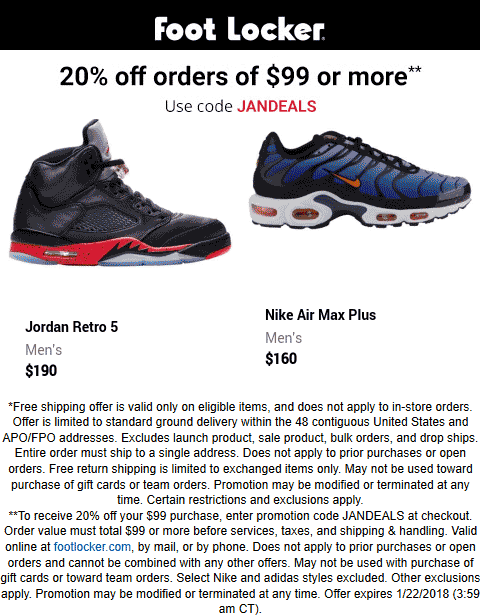 Foot Locker Coupon October 2019 20% off $99 online at Foot Locker via promo code JANDEALS