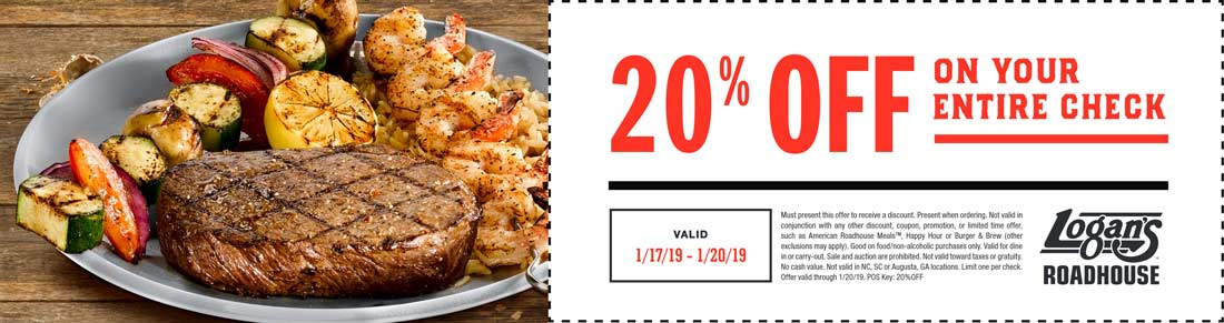 Logans Roadhouse Coupon July 2019 20% off today at Logans Roadhouse restaurants