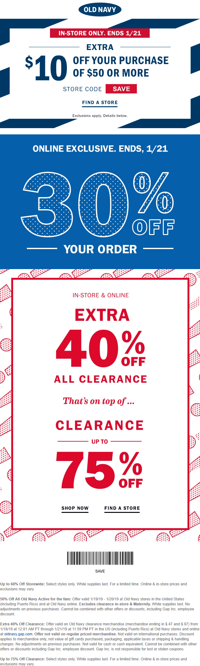 Old Navy Coupon November 2019 $10 off $50 at Old Navy, or 30% online no code needed