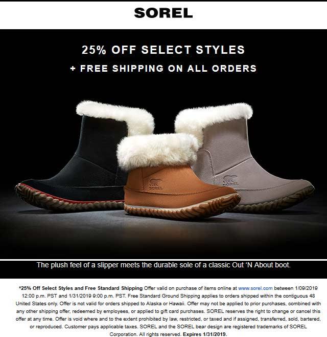 Sorel Coupon July 2019 25% off + free shipping at Sorel, no code needed